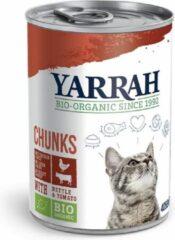 12x Yarrah Bio Brokjes In Saus Kattenvoer Kip - Rund 405 gr