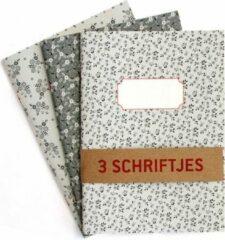 De Kaartenmakers Schriften Bloemen Grijstinten - 3 stuks A5 Gelijnd