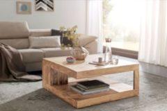 Wohnling Couchtisch MUMBAI Massiv-Holz Akazie 90 cm breit Design Wohnzimmer-Tisch dunkel-braun Landhaus-Stil Beistelltisch