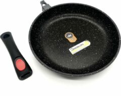 Zwarte Blackstone Sterk Pan 28cm Afneembare Handgreep - Gegoten Aluminium, Anti-Aanbaklaag, Geschikt voor Alle Warmtebronnen, ook inductie - Greblon Duitse Technologie