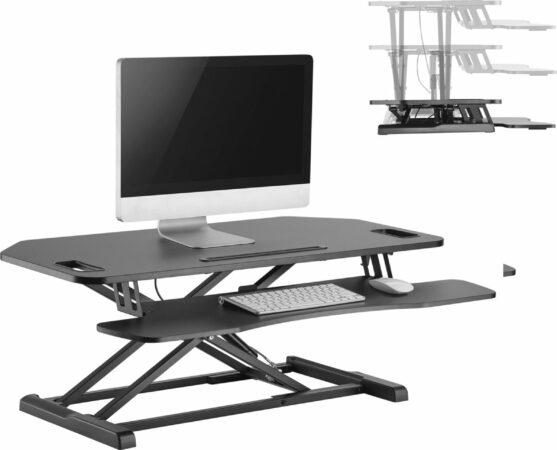 Afbeelding van Zwarte VDD Gaming Bureau verhoger zit sta werkplek - ergonomisch hoogte verstelbaar bureau - 95 cm breed