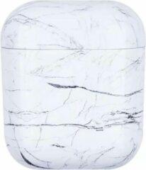 Grijze Boho Bijoux - Airpods Hoesje - Marmer Wit - Geschikt voor Apple Airpods 1 en 2