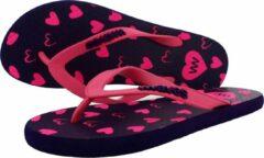 Waves teen slippers dames hartjes maat 36 vegan duurzaam fair rubber flip flops
