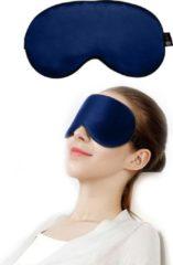 Marineblauwe SIMIA™ Premium Zijden Slaapmasker - Luxe Verstelbare Oogmasker - 100% Verduisterend - Reismasker - Blinddoek - Powernap - Meditatie - Yoga - Slaap - Reis - Ontspanning - Zijdezacht - Anti Rimpel - Cadeau Tip - Marine Blauw