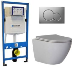 Douche Concurrent Geberit UP 320 Toiletsets - Inbouw WC Hangtoilet Wandcloset - Shorty Flatline Sigma-01 Mat Chroom