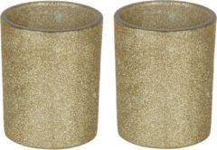 Goudkleurige Bellatio Decorations 2x Gouden theelichthouders/waxinelichthouders glitter 10 cm - Kaarsenhouders/lantaarns - Sfeer lichtjes