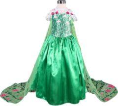 Spaansejurk NL Elsa Frozen jurk - Prinsessenjurk - Fever Groen met sleep maat 128/134 (140) + Gratis Ketting