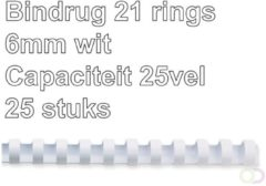 Bindrug Fellowes 6mm 21rings A4 wit 25stuks
