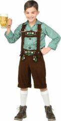 Groene Widmann Boeren Tirol & Oktoberfest Kostuum | Bruine Lederhosen Met Shirt Jong Geleerd Bierfeest | Jongen | Maat 158 | Bierfeest | Verkleedkleding