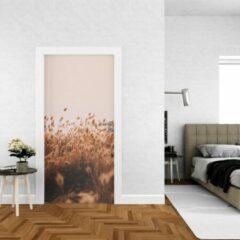 Beige Wallstation Deursticker Bloemen 24 - 100 x 250 cm - Gratis installatie-kit - Snelle levering