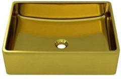 VidaXL Wastafel 41x30x12 cm keramiek goudkleurig
