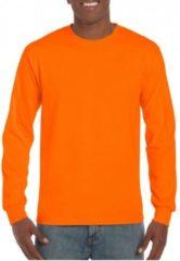 Gildan Heren t-shirt lange mouw fluor oranje L