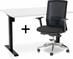 Lineaflex MRC Zit-sta bureau elektrisch verstelbaar + ERGO Bureaustoel | ARBO EASY Thuiswerkset | frame bureau zwart - bureaublad wit | 120x80 cm