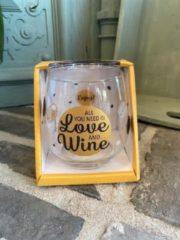 Gouden Creaties van hier Wijn - water glas / All you need is love and wine / wijnglas / waterglas / leuke tekst / moederdag / vaderdag / verjaardag / cadeau
