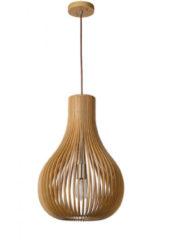Bruine Lucide Verstelbare Hanglamp Bodo 1-Lichts Ø38 X H55 Cm - Hout Bruin