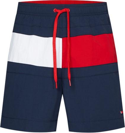 Afbeelding van Marineblauwe Tommy Hilfiger Medium Drawstring Sportzwembroek - Maat L - Mannen - navy/wit/rood