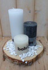 Bolsius 3-delige set kaarsen zwart, sneeuwwit en cremewit, grindkleur: wit, dia. circa 30 cm