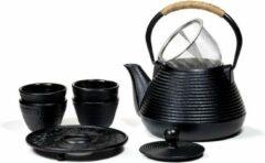 Zwarte Yogi & Yogini SET: Tetsubin Theepot 1 liter met Onderzetter + 4 Kopjes
