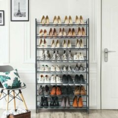 SONGMICS schoenenrek met 8 niveaus, set van 2 stapelbare schoenenopbergers met 4 niveaus, voor 32 tot 40 paar schoenen, met verstelbare roosters, plat of schuin monteerbaar, grijs LMR08GB