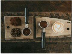 Beige KuijsFotoprint Poster – Gemalen Koffiebonen en Koffie op een Plankje - 40x30cm Foto op Posterpapier