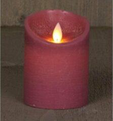 Anna's Collection 2x Antiek Roze Led Kaars / Stompkaars 10 Cm - Luxe Kaarsen Op Batterijen Met Bewegende Vlam