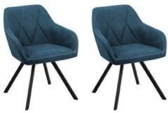 Blauwe Beliani Monee Eetkamerstoel Set Van 2 Polyester 62 X 54 Cm