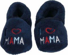 Blauwe jongens/meisjes babyslofjes I love mama - kraamcadeau / geboorte 18-19