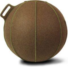 Bruine Zitbal - Velt - met groene stiknaden - Ø70-75 - Bruin - Vluv