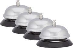 Zilveren Relaxdays 4 x tafelbel verchroomd, receptiebel, hotelbel, schoolbel, balie bel