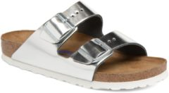 Zilveren Birkenstock Women's Arizona Slim Fit Leather Double Strap Sandals - Metallic Silver - UK 4/EU 37 - Silver