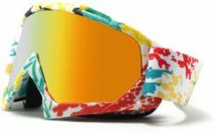 Skibril - Snowboardbril - Crossbril - Goud Rood Spiegel