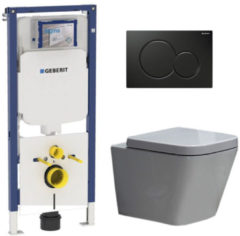 Douche Concurrent Geberit UP720 Toiletset - Inbouw WC Hangtoilet Wandcloset Rimfree - Alexandria Sigma-01 Zwart