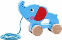 Tooky Toy Olifant Trekfiguur Junior 15,8 X 12,8 Cm Hout Blauw