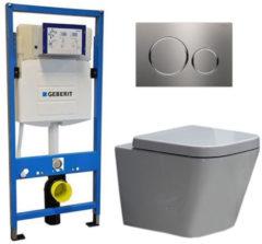 Douche Concurrent Geberit UP 320 Toiletset - Inbouw WC Hangtoilet Wandcloset - Alexandria Sigma-20 RVS Geborsteld