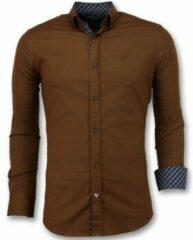 Bruine Overhemd Lange Mouw Gentile Bellini Overhemden Italiaans - Extra Slim Fit