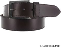 Donkerbruine Leatherbelove - Casual lederen broekriem - Bruin - 85 cm