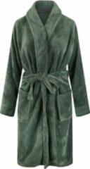 Relax Company Unisex badjas fleece - sjaalkraag - olijfgroen - maat XL/XXL