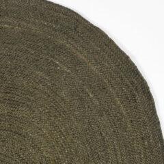 Donkergroene LABEL51 Vloerkleed 'Jute' 120cm, kleur Army groen