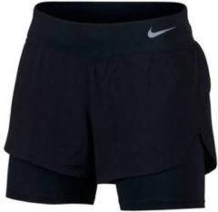 Zwarte Nike Eclipse 2In1 Short Dames Sportbroek - Black/(Reflective Silv) - Maat XS