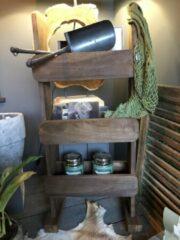 Bruine A&M Desing Staand rek met 3 opberg bakken 78H 32B recycle hard hout
