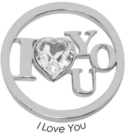 Afbeelding van Quoins Disk I Love You staal zilverkleurig Large QMOK-28L-E-CC