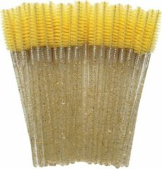 Lashes & More 50 Stuks Gele glitter Make-Up Wimpers Borstels Voor Wimper Extension - Mascara Applicator Wands - Siliconen Wegwerp Mascara Borstel Make Up kwasten