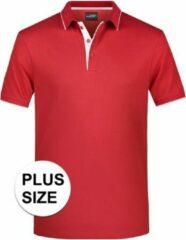 James & Nicholson Grote maten polo shirt Golf Pro premium rood/wit voor heren - Rode plus size herenkleding - Werk/zakelijke polo t-shirt 3XL