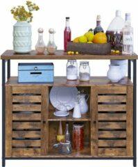 VASAGLE dressoir, zijkast, keukenkast met open rekken, halkast, ladekast met lamellendeuren, woonkamer, eetkamer, kantoor, hal, industrieel ontwerp, vintage, donkerbruin
