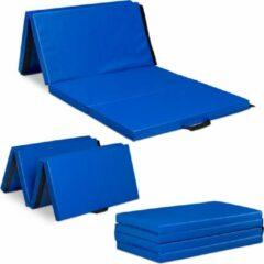 Relaxdays gymnastiekmat opvouwbaar - 180x80 cm - fitnessmat - trainingsmat - sportmat blauw