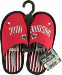 Apollo Rode Instap Sloffen/pantoffels Awsome Dude Voor Jongens/kinderen - Rode Slippers Voor Jongens/kinderen 31-32