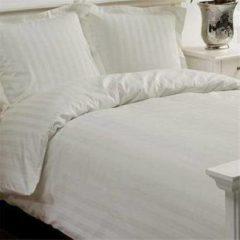 Creme witte Papillon Uni Satijn - Dekbedovertrek - Eenpersoons - 140x200/220 cm + 1 kussensloop 60x70 cm - Ivoor