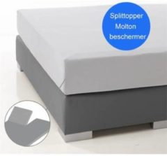Ambianzz Nightlife - Molton Hoeslaken voor Splittopper - Katoen (stretch) - 160x200 + 15 cm - Wit