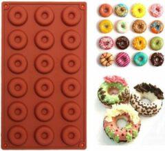 TrendX® Siliconen Donutvorm / Donut Bakvorm - 18 Cavity - Bruin