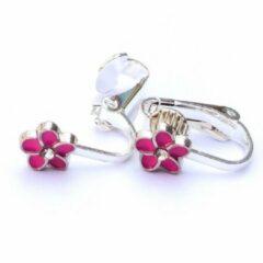 MNQ bijoux - Clipoorbellen - Oorclips - Kind - Meisje - Bloem - Roze - Knopje
